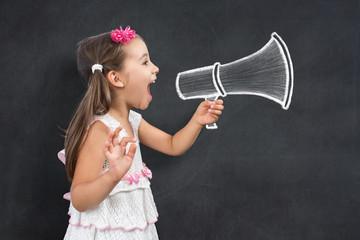 Happy Little Child Schoolgirl Makes Announcemet Call for Back To School