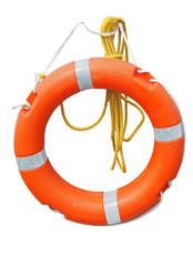 orange lifebelt or life preserver with yellow rope isolated on white