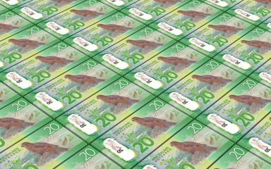 New Zealand dollar bills stacked background. 3D illustration.
