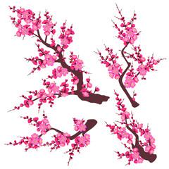 Pink Plum Blossom Branch Set