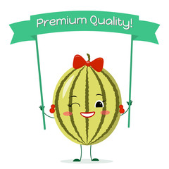 Cute watermelon cartoon character with a yellow bow and earrings. Smiles and holds a premium quality poster. Vector illustration, a flat style.