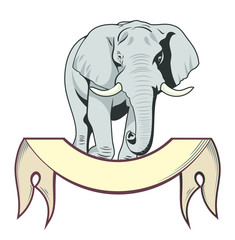 Portrait of an elephant with a banner, old school style