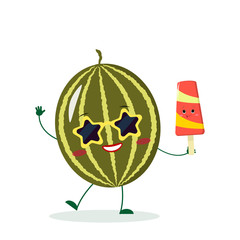 Cute watermelon cartoon character in sunglasses star in the hands of a colorful ice cream. Vector illustration, a flat style.