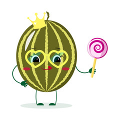Cute watermelon cartoon character with crown holds a lollipop.Vector illustration, a flat style.