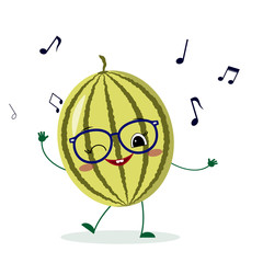Cute watermelon cartoon character in glasses dances to music. Vector illustration, a flat style.