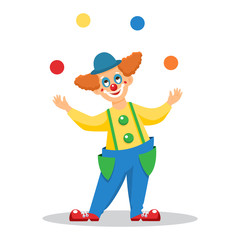 Funny cartoon clown juggles with balls.Isolated on white background.Line art design.Vector illustration