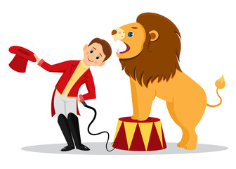 Cartoon lion tamer puts his head in the jaws of the lion.Isolated on white background.Line art design.Vector illustration