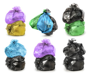 Set of trash bags isolated on a white background
