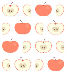 Seamless pattern with flat red apple isolated on white background. Whole and carved (halfs and slices) ripe apples on fruit texture for fabric, wallpaper or web background on vector EPS10 design