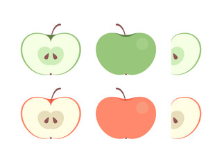Set of colorful appe icons in flat vector style. Whole and carved (halfs and slices) ripe fresh apple in collection for fruits illustrartion