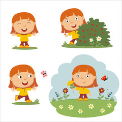 Vector set funny girl with red hair on summer meadow with flowers, isolated on white background.