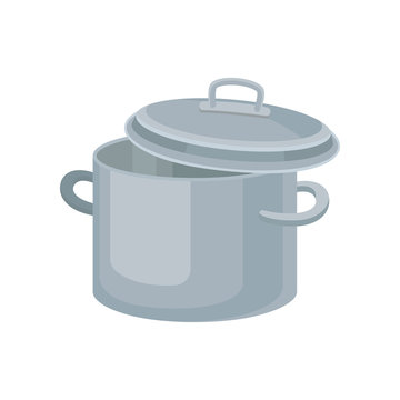 Flat vector icon of metal saucepan for cooking food. Stainless pot with two handles and lid. Kitchenware theme
