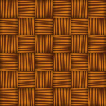 Red and brown straw wicker striped geometric seamless pattern, vector