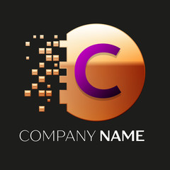 Realistic Purple Letter C logo symbol in the golden colorful pixel circle shape with shattered blocks on black background. Vector template for your design