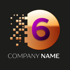 Realistic Purple Number Six logo symbol in the golden colorful pixel circle shape with shattered blocks on black background. Vector template for your design