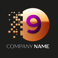 Realistic Purple Number Nine logo symbol in the golden colorful pixel circle shape with shattered blocks on black background. Vector template for your design