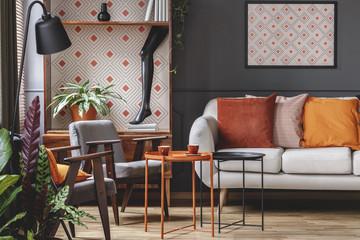 Patterned orange living room interior
