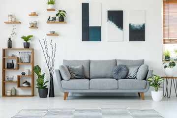 Real photo of an elegant living room interior with a comfy couch, paintings and shelves