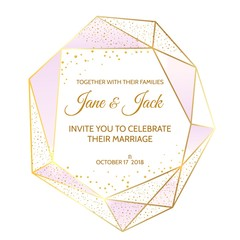 Diamond shape frame. Crystal texture frame for bridal party invitations or wedding cards, vector illustration