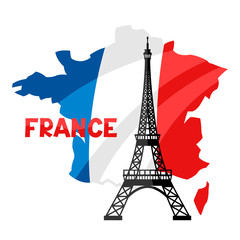 Eiffel Tower on map of France.