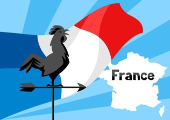 Rooster weathervane on flag of France.