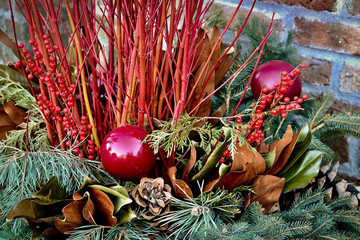 Beautiful Red and Green Christmas Decorative Arrangement
