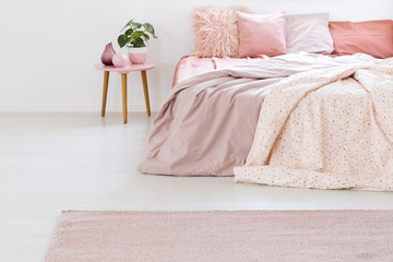 Plant on table next to bed with pink sheets and cushions in pastel bedroom interior with carpet. Real photo