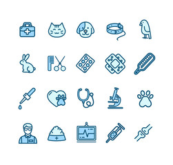 Veterinary Clinic Signs Color Thin Line Icon Set. Vector