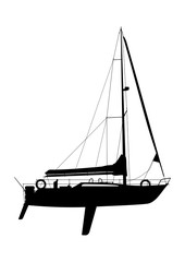 Yacht with coiled sails. Black silhouette on a white background. Side view. Flat vector.