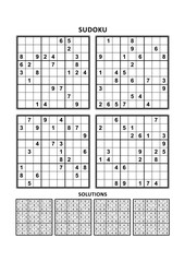 Four sudoku puzzles of comfortable (easy, yet not very easy) level, on A4 or Letter sized page with margins, suitable for large print books, answers included. Set 13.