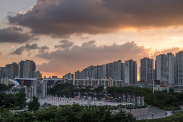 Seoul, South Korea - July 13, 2018: World Peace Gate. The 24th Seoul Olympic representative symbol of sculptures, South Korea.
