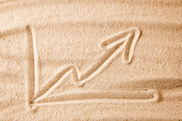 Beach and arrow chart up in the sand. concept of sales growth, growth in prices in the turistic summer season