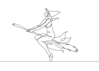 One continuous drawn single line of a witch halloween