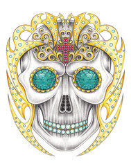 Art graphic and gem mix Skull color Tattoo. Hand drawing and painting on paper.