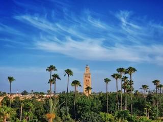 Vue du minaret de la mosquée Koutoubia à Marrakech au Maroc