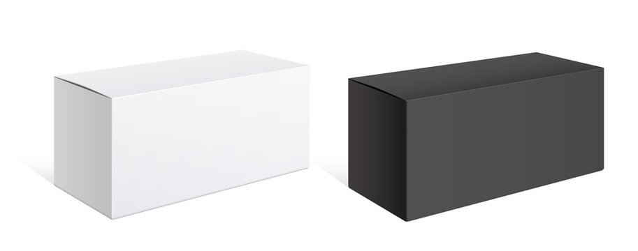 Realistic black and white packing boxes.