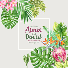 Wedding invitation over tropical background