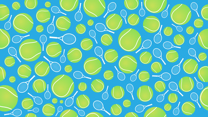 tennis ball and racket seamless pettern vector illustration eps10