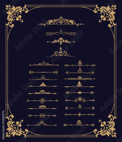 a84238e80927 Set of vector decorative vintage gold thin dividers. Vintage elements for  your design.