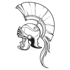 Galea. Roman Imperial helmet with crest tipically worn by centurion. Side view. Heraldry element. Black a nd white drawing isolated on white background. EPS10 vector illustration