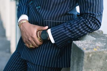 Business man crossing hands