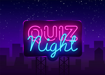 Quiz night announcement poster vector design template. Quiz night neon signboard, light banner. Pub quiz held in pub or bar, night club. Questions game bright retro light sign. Vector Billboard Fototapete