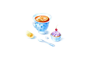 Cup of tea,lemon, cake and spoon.Picture of a dessert.Watercolor hand drawn illustration.Isolated sketch.White background.