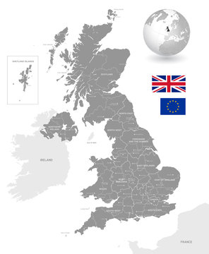 Grey Vector Political Map of the UK