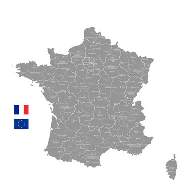 Grey Vector Political Map of France