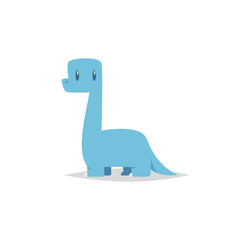 Cute cartoon brachiosaurus vector