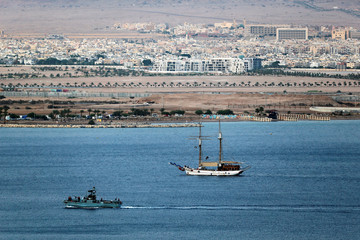 A general view of boats in the Red Sea and the Jordanian city of Aqaba, as seen from Eilat