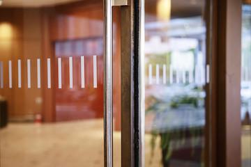 Glass door in the building