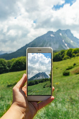 Female hand holding mobile phone and  