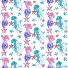 Watercolor Sea Stars and Jellyfish pattern